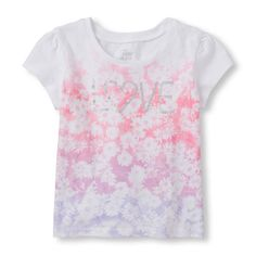 Baby Girls Toddler Short Sleeve 'Love' Flower Graphic Tee - White T-Shirt - The Children's Place