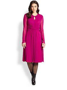 Fuzzi, Sizes 14-24 - Tulle Keyhole-Front Dress - Saks.com