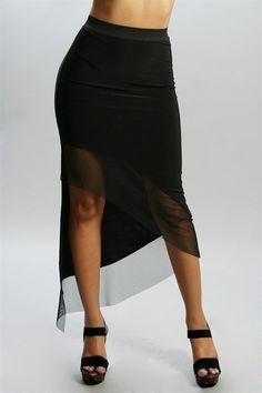 Sexy asymmetrical black mesh detailed high low skirt. Elastic waist.