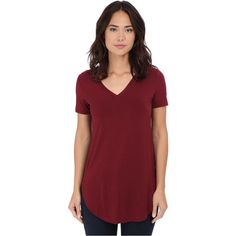 abf5dd5e06ef3 Culture Phit Preslie Cap Sleeve Modal V-Neck Top (Wine) featuring polyvore