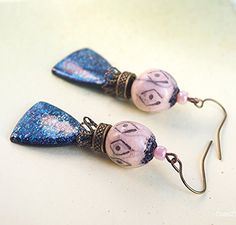 boucle d'oreille aztèque bijoux incas - bijou design rose bleu nuit - perle Raku motif ethnique pendentif polymère