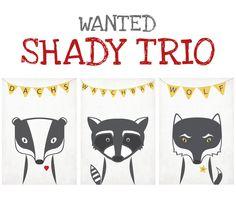 Retro Posters A3 Set, Dachs, Waschbär, Wolf, Tiere von Emugallery auf DaWanda.com