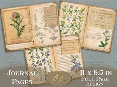 Journal Pages Printable, Bullet Journal Ideas Pages, Junk Journal, Garden Journal, Nature Journal, Scrapbook Journal, Scrapbook Paper, Homemade Journal, Creative Journal