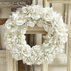 "A whole new meaning to the term, ""white paper"" . . . white paper rose wreath . . . beautiful."