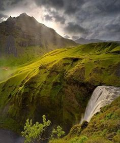 Spring Waterfall, Iceland.  This is a magnificent picture.  Here are some nice ones which I took during the summer there http://digitalprintgifts.com/iceland