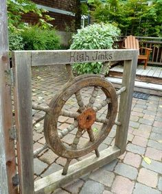 Ship Wheel Entry Gate: http://www.completely-coastal.com/2014/06/outdoor-nautical-curb-appeal-ideas.html