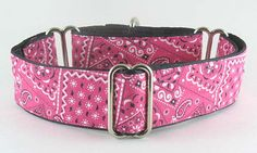 Pink Bandana: The Regal Hound - Unique fashionable designer martingale and buckle dog collars, from cute to fancy, humane and soft choke for all canine breeds