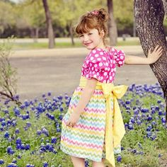 """Re-mix"" a standard peasant dress pattern & make this adorable modern version of a peasant dress. (tutorial links to free printable pattern)"