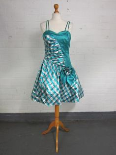 Vintage 1980s 80s Crazy Green Silver Bow Prom Party Bridesmaid Dress UK 36 | eBay