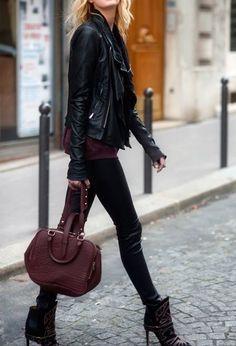 Burgundy + leather.