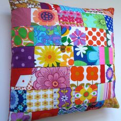 Bright Vintage Fabric Patchwork pillow