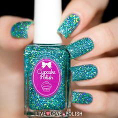 Cupcake Polish Imagine is a light teal jelly polish with silver holographic microglitter. This nail polish is handcrafted and designed by Sara, creator of Cupca Super Cute Nails, Pretty Nails, Fun Nails, Best Nail Polish, Nail Polish Colors, Nail Polishes, Manicures, Nail Polish Designs, Nail Designs