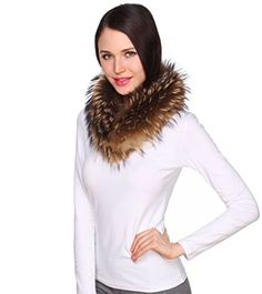Ferand Women's Genuine Raccoon Fur Scarf Wrap Shawl Dark Natural *** You can get additional details at the image link.