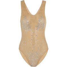 Norma Kamali Embellished swimsuit ($399) ❤ liked on Polyvore featuring swimwear, one-piece swimsuits, swimsuits, bodysuit, neutral, swim suits, mesh swimsuit, swim wear, embellished swimsuits and mesh swimwear