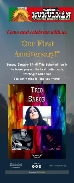 Sunday January Trio Sabor will be in the house playing the best Latin beats, starting at pm! First Anniversary, Events, Celebrities, Anniversary, First Birthdays, Happenings, One Year Anniversary, Celebs, Celebrity