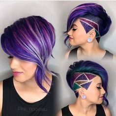 30 Stylish Undercut Hairstyles for Women Shaved side bob with purple oil slick hair and shaved hair design. The post 30 Stylish Undercut Hairstyles for Women appeared first on Beautiful Daily Shares. Undercut Hairstyles, Cool Hairstyles, Short Undercut, Undercut Women, Undercut Styles, Haircut Short, Shaved Undercut, Shaved Side Hairstyles, Undercut Designs