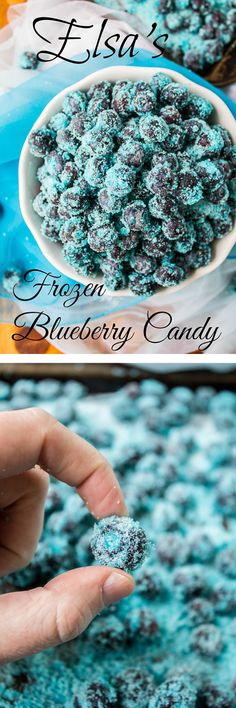 Elsa's Frozen Blueberry Candy // The Food Charlatan. This is perfect to serve at a Frozen birthday party, or eat as a snack any day, because who doesn't want healthy candy?