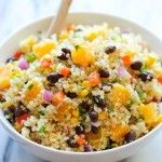 1 cup quinoa 1/4 cup balsamic vinegar Zest of 2 limes 1 mango, peeled and diced 1 red bell pepper, diced 1/2 cup shelled edamame 1/3 cup cho...