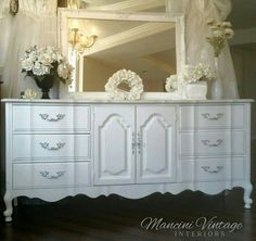 French Shimmer & Stripe Crystalline Beauty Dresser and Mirror Bedroom Set Glam Southern California on Etsy Grey Furniture, Country Furniture, Vintage Furniture, Painted Furniture, French Provincial Dresser, Provincial Furniture, French Country Bedrooms, French Country Cottage, Solid Wood Dresser