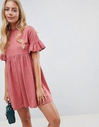 Buy ASOS DESIGN cotton slubby frill sleeve smock dress at ASOS. With free delivery and return options (Ts&Cs apply), online shopping has never been so easy. Get the latest trends with ASOS now. Casual Dresses For Women, Cute Dresses, Dresses For Work, Casual Outfits, Elegant Dresses, Maxi Dresses, Dress Prom, Formal Dresses, Party Dress