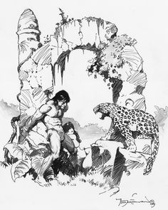 Original Comic Art titled Apeman & Opar Leopard, located in David's Mike Hoffman NFS (! Tarzan Of The Apes, Fictional Heroes, Ink Pen Drawings, Bristol Board, Frank Frazetta, Sword And Sorcery, Art Archive, Barbarian, Comic Artist