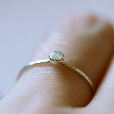 Natural Fiery AAA Opal Orbital Ring - Simple Sweet Beautiful Hammered Stack Ring with a Fiery White Opal