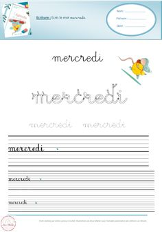 French Cursive, French Handwriting, Cute Handwriting, Teaching French, Worksheets, Activities For Kids, Journal, Learning, Grande Section