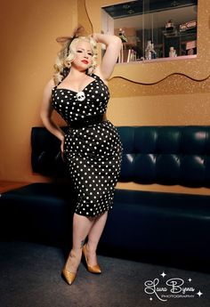 7a0a8991f0d9 Deadly Dames Wiggle Dress in Black with White Polka Dots - Plus Size Pin Up  Outfits