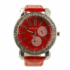 Tanboo Big Dial PU Leather Band Crystal Characteristic Women Girl Ladies Wrist Watch - Red by Tanboo. $12.99. Wrist Watches. Women's Watche. Fashionable Watches, Casual Watches Feature Water Resistant. Gender:Women'sMovement:QuartzDisplay:AnalogStyle:Wrist WatchesType:Fashionable Watches, Casual WatchesFeature:Water ResistantBand Material:PUBand Color:RedCase Diameter Approx (cm):4.8Case Thickness Approx (cm):1.1Band Length Approx (cm):24.5Band Width Approx (cm):2