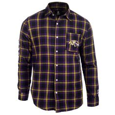 Men's Baltimore Ravens NFL Klew Purple/Black Wordmark Flannel Button-Up Long Sleeve T-Shirt