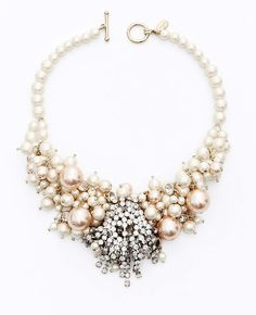 Ann Taylor - AT Jewelry - Large Pearlized Bead and Crystal Statement Necklace