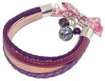 Bransoletka rzemykowa ze skóry ekologicznej w kolorze fioletowym, łososiowo-różowym i burgundowym.