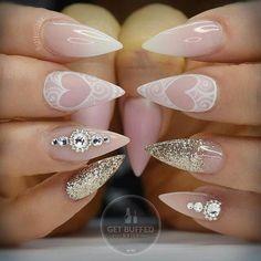 Pink and bing nails (10/14) #nailart #valentinesnails #nails #pink #heart #glitter #gold