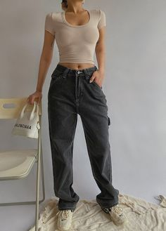 Black Mom Jeans Outfit, Boyfriend Jeans Outfit, Jeans Outfit Winter, Outfit Jeans, Black Boyfriend Jeans, Outfits With Mom Jeans, 90s Mom Jeans, Outfit Summer, Jean Outfits