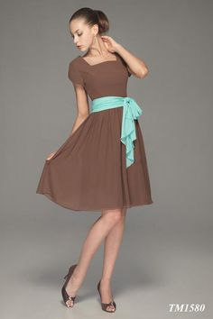 2015 Square Brown Knee Length Sash Ruched Buttons Short Sleeves Chiffon Mother of the Bride Dresses Bella MBD1580
