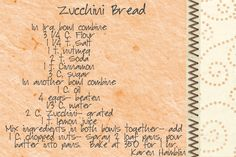 They Are Crafty: Zucchini Bread