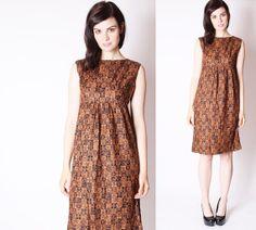 Vintage 60s Empire Waist Brown Fall Dress / Brown by aiseirigh, $88.00