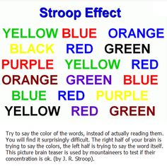 Check out this stroop effect brain teaser that involves saying the color in the word and not the actual word itself. Check back daily for more illusions! Eye Illusions, Cool Optical Illusions, Stroop Effect, Moving Eyes, Reading Games, Reading Tips, Brain Gym, Science Fair Projects, School Projects