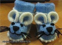 Der Neu :Mouse-shaped Baby Booties Knitting Pattern from Cute Booties for Babies from . Baby Booties Knitting Pattern, Knit Baby Shoes, Knit Baby Dress, Crochet Baby Boots, Knit Baby Booties, Crochet Shoes, Crochet Slippers, Baby Knitting Patterns, Knitting Socks