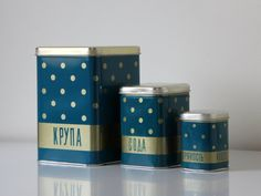 Polka dot tin canister from USSR, for groats, soda and spice storage, kitsch soviet design from 70s. Found at agafrog on Etsy.