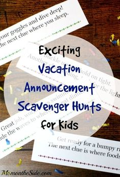 Whether you are going somewhere unbelievably amazing like Disney World, headed to the beach, or even taking a scenic road trip, I have Vacation Announcement Scavenger Hunts for Kids that will help you surprise them! These scavenger hunt clues are fun and Florida Vacation, Florida Travel, Cruise Vacation, Disney Vacations, Disney Trips, Disney Cruise, Vacation Ideas, Travel Trip, Vacation Countdown