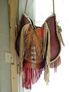 Handcrafted Western Leather Boho Fringe satchel hobo Native American Cross Leather Feather Bag by WhiteBuffaloCreation on Etsy