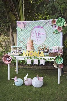 Mona's Enchanted 1st Birthday Garden Party is so pretty! Loving the dessert table! See more party ideas at CatchMyParty.com