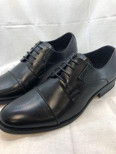 b172c146733 Adolfo Mens Black Oxford Cap Tow Dress Formal Shoes Size 7.5  fashion   clothing