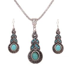 Retro Tibet Silver Blue Turquoise Crystal Pendant Necklace Earrings Jewelry Sets #UnbrandedGenenic #NecklaceEarringJewelrySets