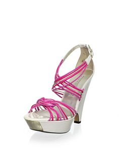 f56d9f035dd 55% OFF Pura López Women s Strappy Modified Wedge Sandal (White Pink) Shoes