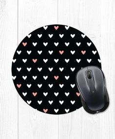 Heart Pattern Mousepad Peach Coral Pink and Black Gifts For Coworkers, Gifts For Mom, Cute Office Desk Accessories, Cute Mouse Pad, My Workspace, Gifts For Office, Tech Gifts, Heart Patterns, Sister Gifts