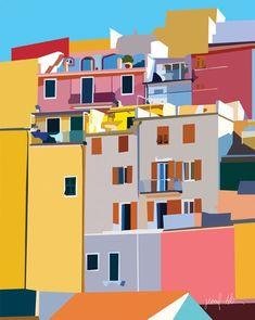 Original artworks by artist & designer Jen Allison Cinque Terre, Travel Illustration, Graphic Illustration, Illustrations, Wall Art Prints, Poster Prints, Wall Art Decor, Bedroom Artwork, Riomaggiore