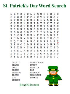 St Patricks Day Word Search Puzzle - This free printable features words about the St. St Patricks Day Word Search Puzzle - This free printable features words about the St. St Patricks Day Crafts For Kids, St Patrick's Day Crafts, Kids Crafts, St Patrick's Day Games, Fun Games, Party Games, St Patrick's Day Words, Bingo For Kids, Kids Fun