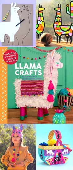 Make fun and quirky llama crafts with this adorable craft book by Happythought. Farm Crafts, Book Crafts, Preschool Crafts, Paper Crafts, Dance Party Birthday, Llama Birthday, Projects For Kids, Crafts For Kids, Craft Projects